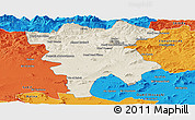 Shaded Relief Panoramic Map of Mila, political outside