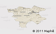 Shaded Relief Panoramic Map of Mila, single color outside