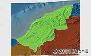 Political 3D Map of Mostaghanem, darken