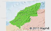Political 3D Map of Mostaghanem, lighten