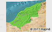 Political 3D Map of Mostaghanem, satellite outside