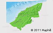 Political 3D Map of Mostaghanem, single color outside