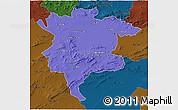 Political 3D Map of Msila, darken