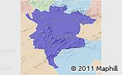Political 3D Map of Msila, lighten