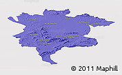 Political Panoramic Map of Msila, cropped outside