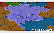 Political Panoramic Map of Msila, darken