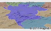 Political Panoramic Map of Msila, semi-desaturated