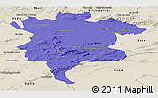 Political Panoramic Map of Msila, shaded relief outside