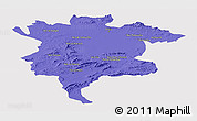Political Panoramic Map of Msila, single color outside