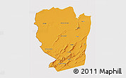 Political 3D Map of Naama, cropped outside