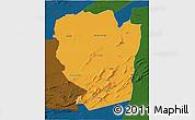 Political 3D Map of Naama, darken
