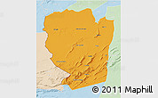 Political 3D Map of Naama, lighten