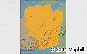 Political 3D Map of Naama, semi-desaturated