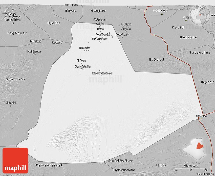 Gray D Map Of Ouargla - Ouargla map