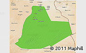 Political 3D Map of Ouargla, satellite outside