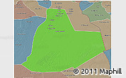 Political 3D Map of Ouargla, semi-desaturated