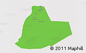 Political 3D Map of Ouargla, single color outside