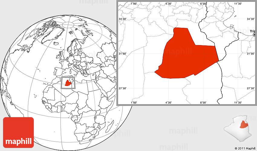 Blank Location Map Of Ouargla - Ouargla map
