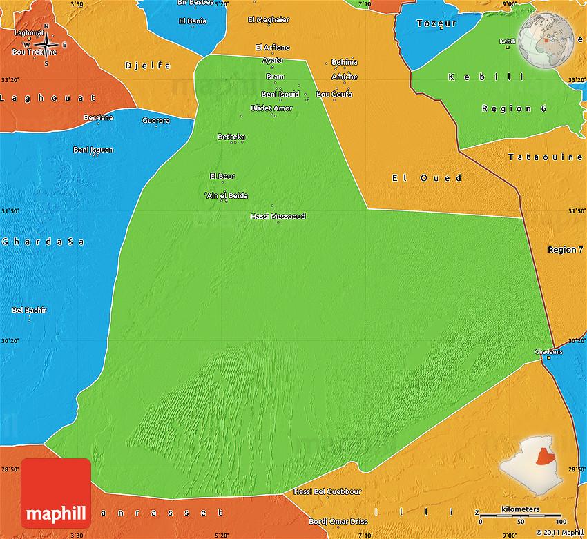 Political Map Of Ouargla - Ouargla map