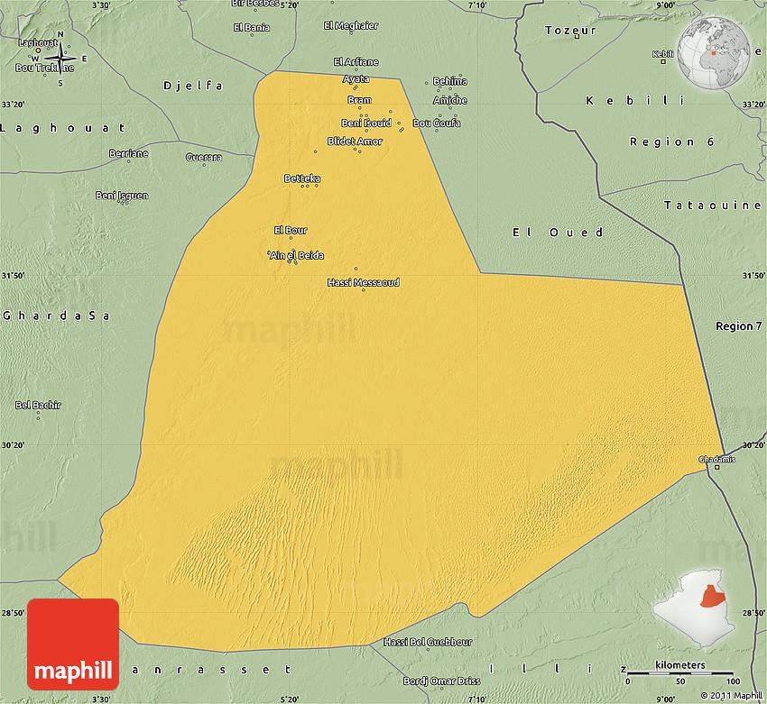 Savanna Style Map Of Ouargla - Ouargla map
