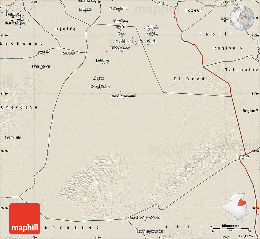 Shaded Relief Map Of Ouargla - Ouargla map