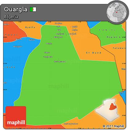 Free Political Simple Map Of Ouargla - Ouargla map