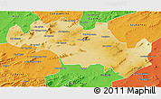 Physical 3D Map of Oum El Bouaghi, political outside