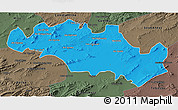 Political 3D Map of Oum El Bouaghi, darken, semi-desaturated