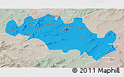 Political 3D Map of Oum El Bouaghi, lighten, semi-desaturated