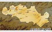 Physical Map of Oum El Bouaghi, darken