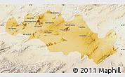 Physical Map of Oum El Bouaghi, lighten