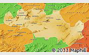 Physical Map of Oum El Bouaghi, political outside