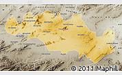 Physical Map of Oum El Bouaghi, semi-desaturated