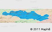 Political Panoramic Map of Oum El Bouaghi, lighten