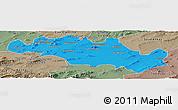 Political Panoramic Map of Oum El Bouaghi, semi-desaturated