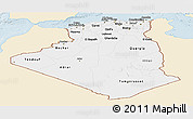 Classic Style Panoramic Map of Algeria, single color outside
