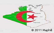Flag Panoramic Map of Algeria, flag centered