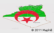 Flag Panoramic Map of Algeria, flag aligned to the middle