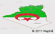 Flag Panoramic Map of Algeria, flag rotated