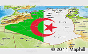 Flag Panoramic Map of Algeria, physical outside