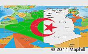 Flag Panoramic Map of Algeria, political outside