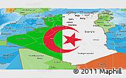 Flag Panoramic Map of Algeria, political shades outside