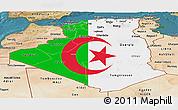 Flag Panoramic Map of Algeria, satellite outside