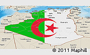 Flag Panoramic Map of Algeria, shaded relief outside