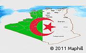 Flag Panoramic Map of Algeria, single color outside, bathymetry sea