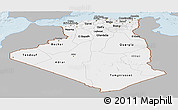 Gray Panoramic Map of Algeria, single color outside