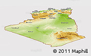 Physical Panoramic Map of Algeria, cropped outside