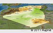 Physical Panoramic Map of Algeria, darken