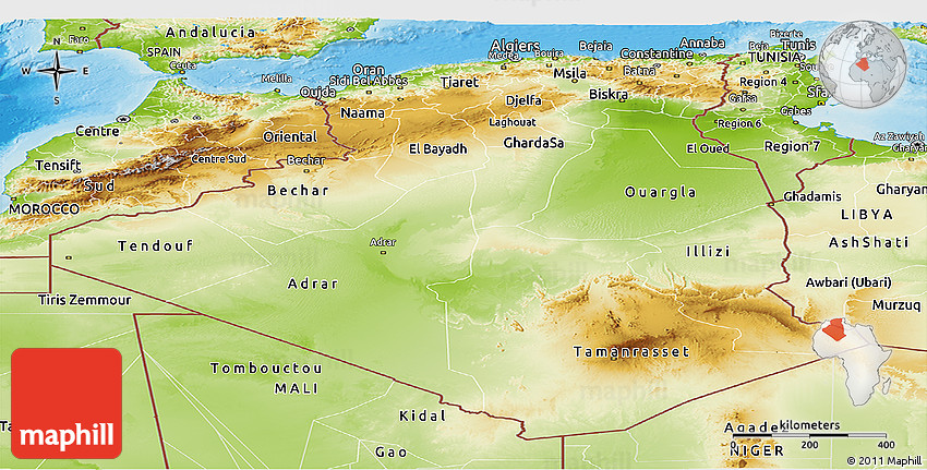 Physical Panoramic Map Of Algeria - Algeria physical map