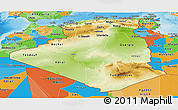 Physical Panoramic Map of Algeria, political outside, shaded relief sea